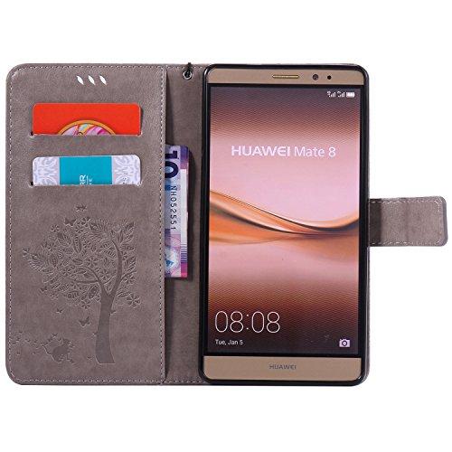 Huawei Ascend Mate 8 Hülle Blau im Retro Wallet Design,Cozy Hut Huawei Ascend Mate 8 Hülle Leadertasche Premium Lederhülle Flip Case im Bookstyle Folio Cover Kartenfächer Magnetverschluss und Standfun grau