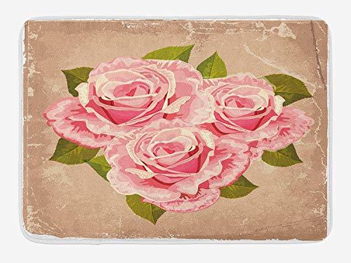 4d448e6ac7606b FAFANIQ Rose Bath Mat, Pink Bouquet of Valentine s Roses Retro Love Romance  Theme Grunge Display