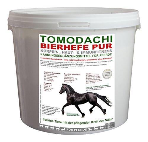 Bierhefe Pferd, 100% natürlich, unextrahiert, für Verdauung, Haut, Fell und Hufhorn beim Pferd, reich an Biotin, Vitaminen, Aminosäuren und Mineralien, unterstützt Darmflora, Stoffwechsel und Immunsystem des Pferdes, für schöne Haut, perfekt glänzendes Fell, festes Hufhorn, Tomodachi Bierhefe Pur, unextrahiert, 100% Bierhefe ohne Biertreber 3kg Eimer