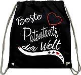Mister Merchandise Turnbeutel natur Rucksack Beste Patentante der Welt Freundin Freundschaft Pate Tante Genurt Schwanger Beutel Tasche Schwarz