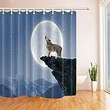 Nyngei Wolf heulen Duschvorhang Badezimmer Dekor wasserdichtes Gewebe & 12hooks 183X183CM