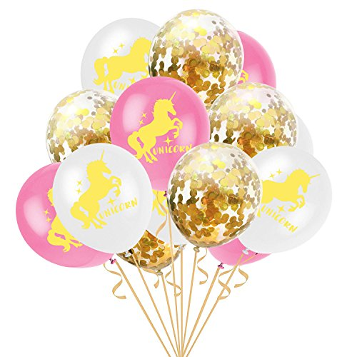 Einhorn Luftballons Set, 15 Stück Konfetti Luftballons Gold, Einhorn und Transparente Pailletten Latex Ballons, 12 Zoll für Party Decor, Hochzeit Party Valentinstag Dekoration