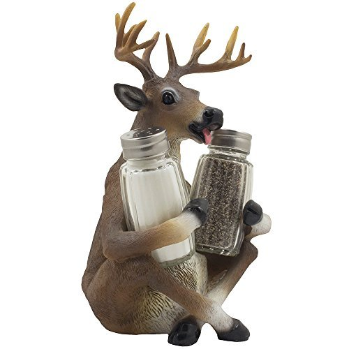 Decorative Big Buck Glass Salt & Pepper Shaker Set Deer Figurine with Antlers Spice Rack for Rustic Lodge Bar & Restaurant Decorations and Hunting Cabin Kitchen Table Decor As Gifts for Hunters by Home-n-Gifts