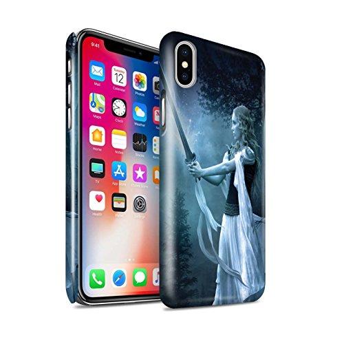 Offiziell Elena Dudina Hülle / Glanz Snap-On Case für Apple iPhone X/10 / Schwarzes Herz Muster / Superheldin Kollektion Zauberschwert