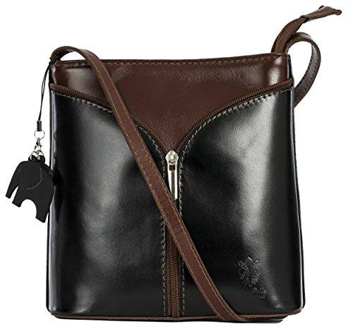 Big Handbag Shop Borsetta piccola a tracolla, vera pelle italiana Black - Brown Trim