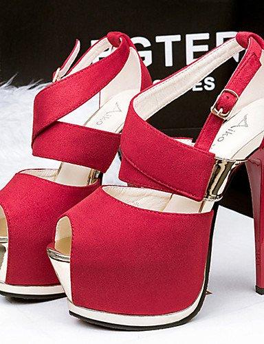WSS 2016 Chaussures Femme-Décontracté-Noir / Rose / Gris / Bordeaux-Talon Aiguille-Talons-Sandales-Velours black-us5 / eu35 / uk3 / cn34