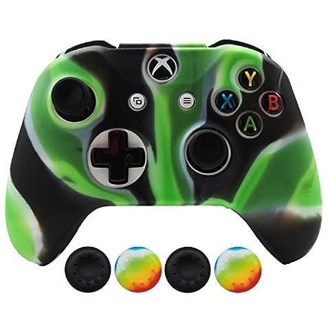 Hikfly Silicone Controller Cover Housse de protection pour la peau kits pour Xbox One Slim / S Controller avec 4pcs Thumb Grips Caps(Vert Camouflage)