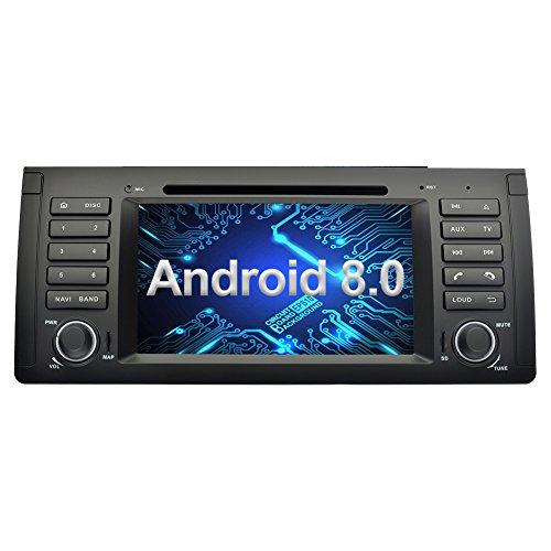 Ohok 7 Pouces Écran Android 8.0.0 autoradio 2 Din Oreo Octa Core Stéréo 4G+32G Sat Nav avec Lecteur DVD Supporte GPS Bluetooth Wlan Dab+ OBD2 pour BMW 5 E39 Series/BMW X5 E53 Series