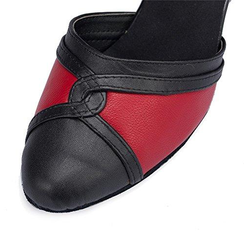 Onorevoli Scarpe Da Ballo Al Chiuso Nero e rosso 5cm