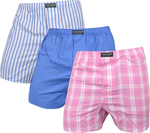 3 x Herren Web Boxershorts aus reiner Baumwolle Farbe Blau/Pink Größe M