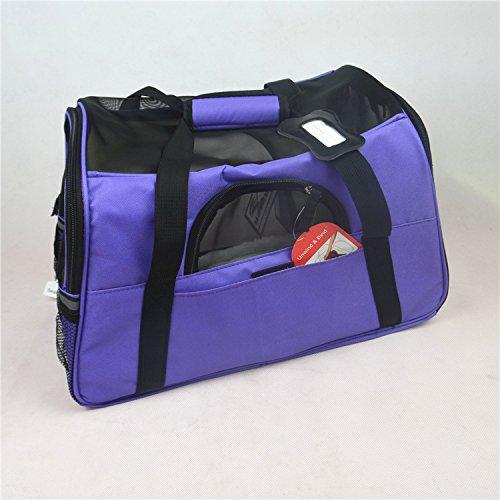 Imagen para XIERU Perros Caja para el Transporte Bolsa de Transporte Mochila del Perro Transportín Plegable para Perros pequeños Tamaño del Producto L 48cm * 25cm * 33cm -Púrpura l