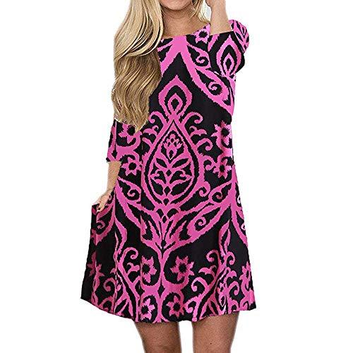 TUDUZ Frauen Sommer Vintage Boho Maxi Abend Party Kleid Elegant Strand Große Größen Blumenkleid