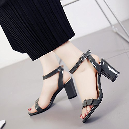 Lgk & fa estate sandali spessi sandali tacco Hollow esposti piedi cintura fibbia tacchi alti Carbon grey
