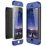 CE-Link Coque iPhone SE Coque iPhone 5S/5, Housse Etui en PC Matière pour Apple iPhone 5/5s/iPhone SE 360 Degrés Complète Protecteur Anti-égratignures Cover - Bleu + Noir