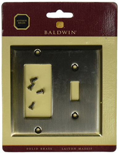 Baldwin Wall Plate (Baldwin 4743050GFCI/Single Toggle abgeschrägte Kante Switch Plate, Messing antik)