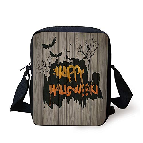 s,Happy Graffiti Style Lettering on Rustic Wooden Fence Scary Evil Artwork,Multi Print Kids Crossbody Messenger Bag Purse ()