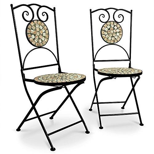 Deuba Mosaikstühle Bilbao 2er Set I Klappbar I Sitzhöhe 45cm I Metall Stabil - Gartenstuhl Klappstuhl Balkonstühle