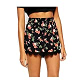 Kolylong Women Floral Printing High Waist Lace Shorts Summer Casual Short Pants (L)
