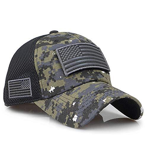ENGXING Taktische Tarnung Baseballmützen Männer Sommer Mesh Military Army Caps Constructed Trucker Cap Hüte Mit Usa Flag Patches - Usa-mesh-hut