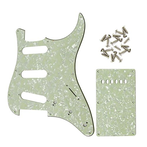 iknr-3-ply-sss-pickguard-and-tremolo-cover-for-fender-sq-squier-electric-guitar-vintage-green-pearl-