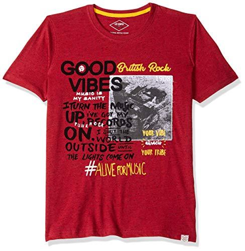 Lee Cooper Boy's Animal Print Regular fit T-Shirt (LCOBT18222RED_Red_7-8y)