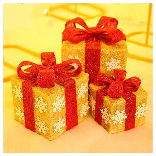 DONGBALA Eisen-Kunst-Pre-Lit, Box Weihnachtsbaumschmuck Rote Kästen Mit Grün-Bögen Für Weihnachten Hochzeiten Und Feiertags-Dekorationen (3Er-Set),A