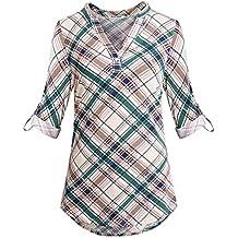 Anna Smith para Mujer con Cuello en V Cuello en V Casual Pullover Túnica Blusas