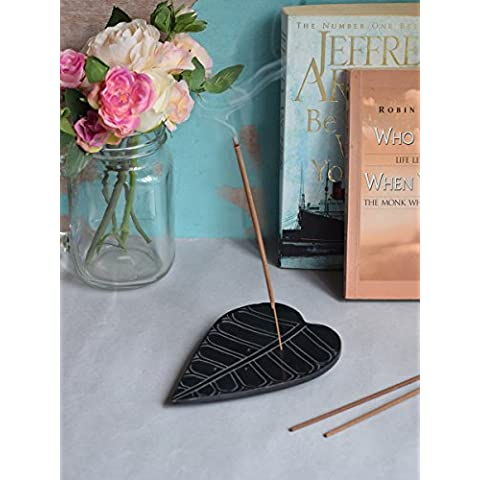 Store Indya, Mano naturale scavata Holder Nero Soapstone Foglia bastone di incenso Cono Ash Catcher Fragranza Accessori