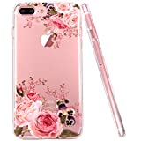 JIAXIUFEN iPhone 7 Plus Hülle, iPhone 8 Plus Hülle, TPU Silikon Schutz Handy Hülle Handytasche HandyHülle Etui Schale Schutzhülle Case Cover für Apple iPhone 7 Plus/iPhone 8 Plus - Rose Flower