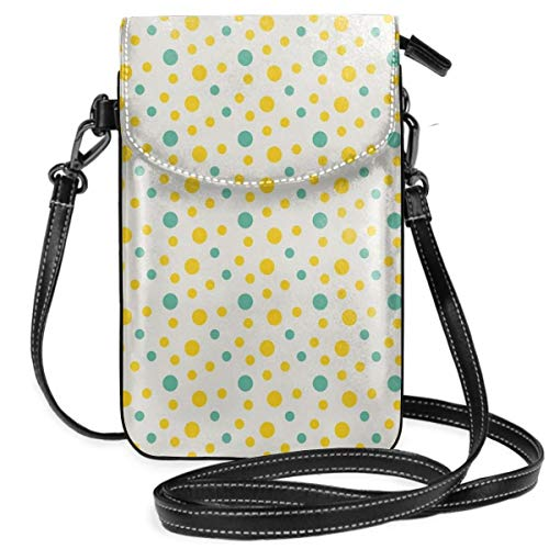 Women Small Cell Phone Purse Crossbody,Various Sized Dotted Pattern With Vibrant Tropical Inspirations Holiday -