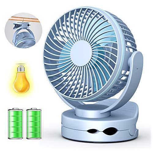 Mini Ventilatore Ventola a USB Clip 3 in 1 luce notturna, Ventilatore Ventola da Tavolo , Rotazione di 360 ° Clip Ventilatore per passeggino, casa, ufficio - blu