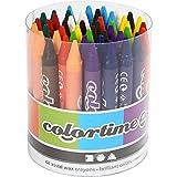 Crayon de cire Colortime, épaisseur 11 mm, L: 10 cm, Couleurs assorties, 48assortis