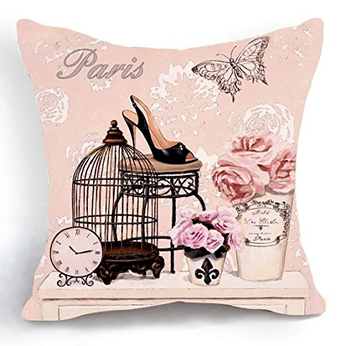 Full Zip Heels (Gorgeous ornaments Home Pillowcase Cushion Cover Black high Heels and Flowers Throw Pillow Decorative for Bedroom or Sofa 18X18)