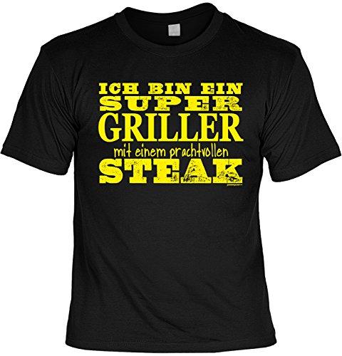 Griller Herd (Fun T-Shirt - Koch Hobby/Beruf Motiv - Ich bin ein super Griller mit einem prachtvollen Steak - Unisex, Farbe: schwarz)
