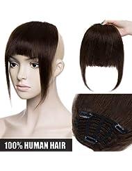 Frange a Clip Cheveux Naturel Extension en 100% Cheveux Humains Postiche Vrai Cheveux Lisse Remy Hair Bang Fringe - #2 CHATAIN FONCE