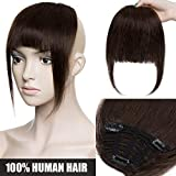"Flequillo Postizo Pelo Natural Castaño [ 3 Clips Antideslizante ] Extensiones de Flequillo (7""/18cm - 25g) [ #02 Marrón Oscuro ] 100% Remy Hair"