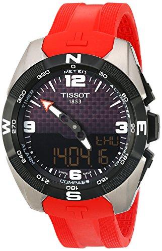 Tissot orologio da uomo 'T-Touch Expert' titanio, quarzo svizzero e cinturino in silicone, colore: Rosso (Model: T0914204705700)