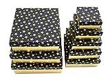 8 x Geschenkkartons mit silber und goldfarbenen Sternen, Verpackung Geschenk einpacken Geschenkverpackung Geschenkbox, Pappe Papier Schachel Weihnachten Ordnungshelfer, Einpackhilfe, back2season