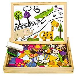 yoptote Puzzle Magnetico Legno Giocattolo di Legno Giochi Montessori Bambini con Lavagna Magnetica 1