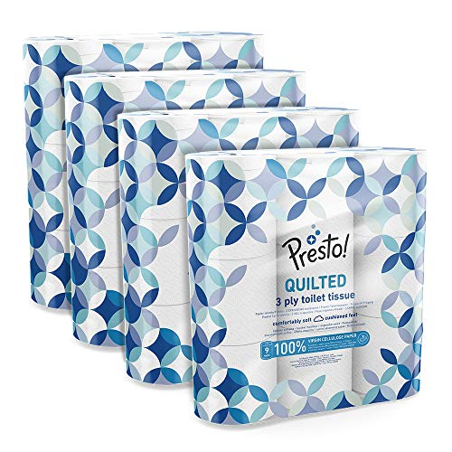 Amazon-Marke: Presto! 3-lagiges gestepptes Toilettenpapier, 36 Rollen (4 x 9 x 200 Blätter)- Muster: Edelstein