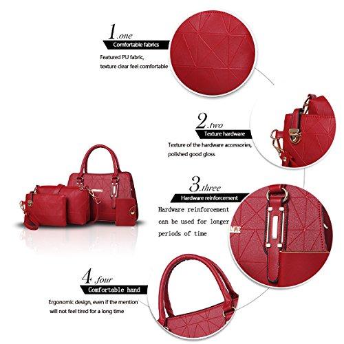 Sunas Il Lingge del sacchetto di spalla della borsa delle donne di modo mette in rilievo il raccoglitore del sacchetto del messaggero del sacchetto delle donne di quattro parti vino rosso