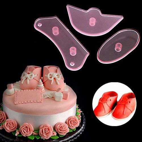 3pcs baby scarpe birthday diy decora muffa taglierina fondente sugarcraft tool set 8
