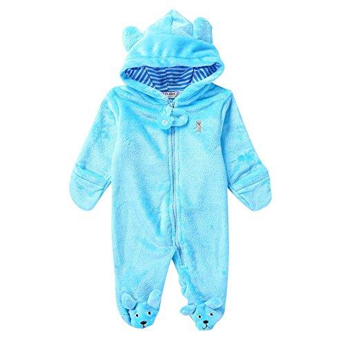 Baywell Baby Overall, Langram Reißverschluss Cartoon Tiermuster Niedlich Hoodie Baby Strampler Onesie (Blau, L/6-9 Monate)