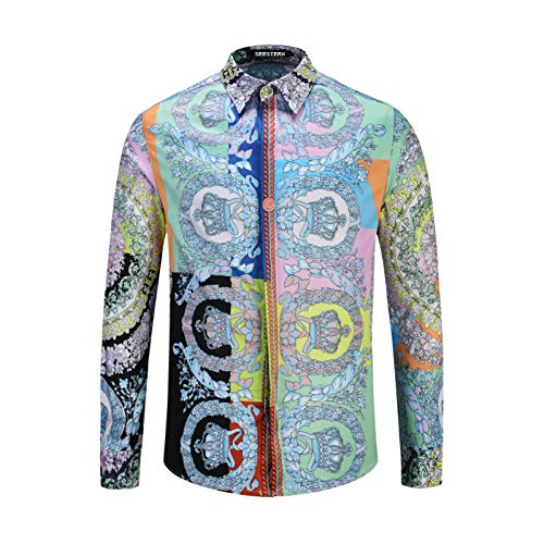 CHENS Langarm/Slim fit/Strand/M Mode Blume Bunte Hemden Hochzeit Party Club Floral Crown King Herren Langarm Shirts Mann Bluse (Männer Florale Langarm-shirt)