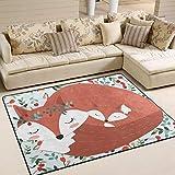 JSTEL INGBAGS Super weicher, moderner Vintage-Teppich mit niedlichem Fuchs-Motiv, Wohnzimmerteppich für Kinder, Spielteppich und Teppiche, 160 x 122 cm