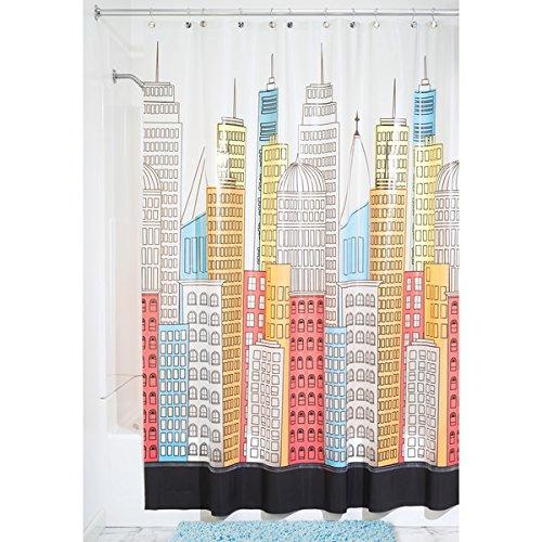 mDesign Duschvorhang Anti-Schimmel - 180 cm x 200 cm - Dusch- & Badewannenvorhang - Duschvorhang wasserabweisend - 12 verstärkte Metallösen - Farbe: bunt