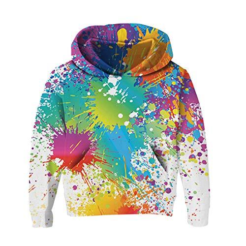RAISEVERN 8-14T Little Boys 's White Graffiti Print bequemer lässiger Kapuzenpulli Langarm Baumwolle Sweatshirt Pullover 120 - Baumwolle Langarm Jumper