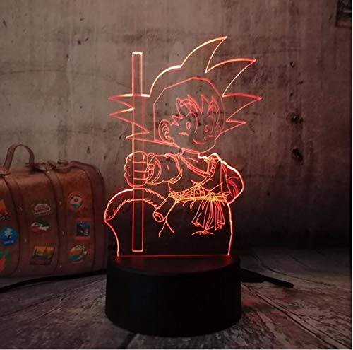 Lámpara de Mesa 3D Night Light Dragon Ball Super Son Goku Monkey Bombilla Led Home Bar Decoración Ac Transformer Año Nuevo Regalos de Cumpleaños