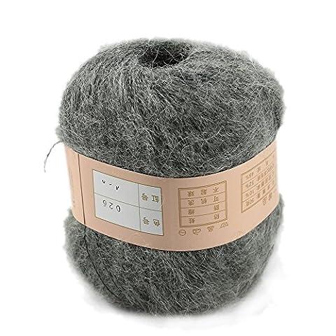 Generic One Skein Angola Mohair Cashmere Wool Knitting Yarn 50g,Dark grey