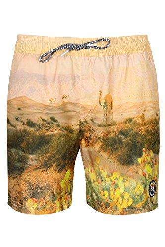 Tokyo Laundry Herren gedruckt Schwimmen Shorts Surfen Strand Tafel Badehose Gratis Zehentrenner Desert -Beige